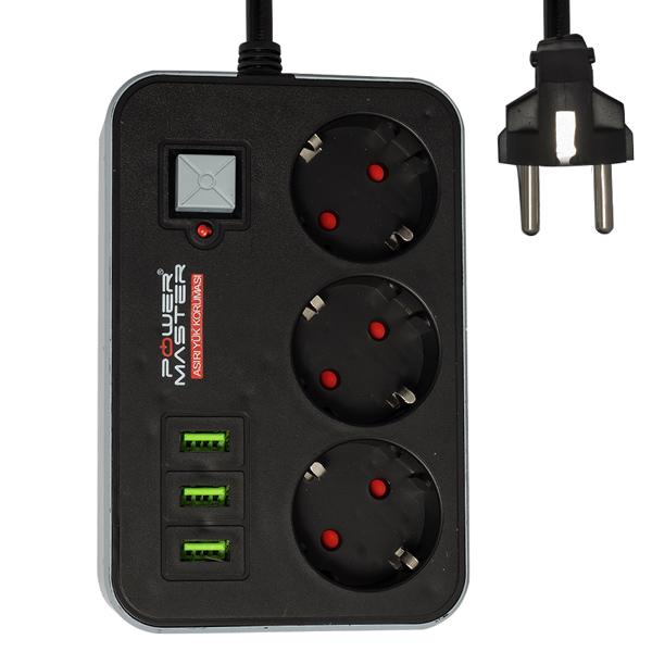 POWERMASTER PM-17564 3 USB ÇIKIŞLI 3'LÜ 1.8 METRE KABLOLU AKIM KORUMALI PRİZ 10A-2500 WATT
