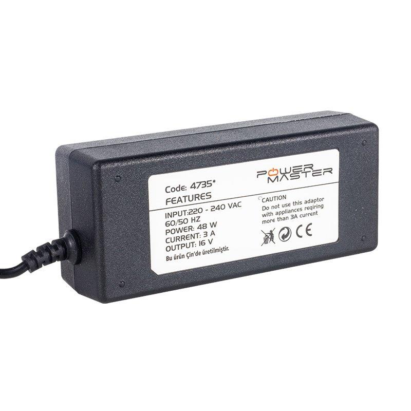 POWERMASTER PM-4735* 16 VOLT 3 AMPER TOS RCA UÇ'LU SANTRAL ADAPTÖRÜ