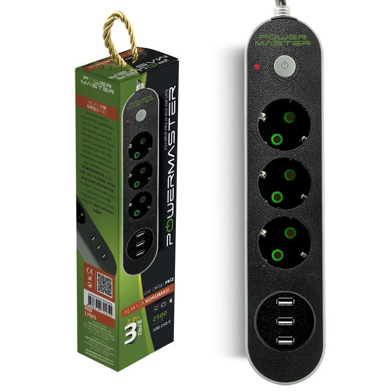 AKIM KORUMALI PRİZ 2 METRE KABLOLU POWERMASTER PM-17021 3 USB ÇIKIŞLI 3'LÜ 10A-2500 WATT